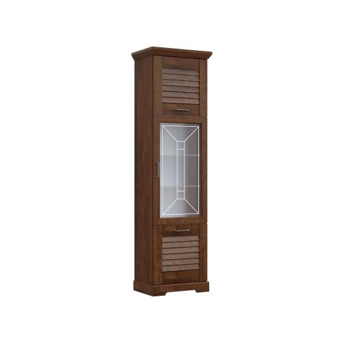 Гостиная «Кантри» СРН Орех Рибек темный Пенал высокий со стеклом