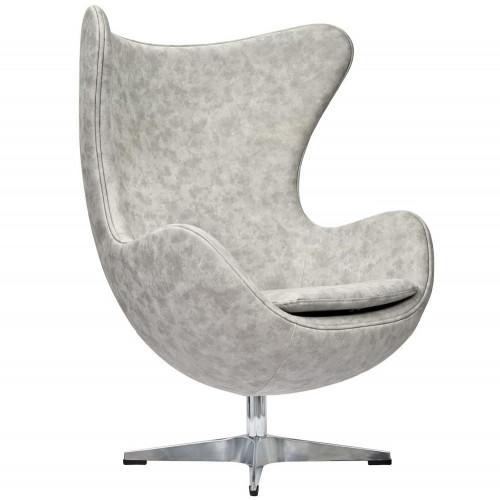 Кресло EGG CHAIR светло-серый матовый с эффектом состаренная кожа FR 0254