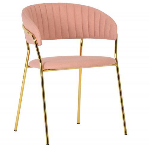 Стул Turin светло-розовая рогожка с золотыми ножками FR 0322