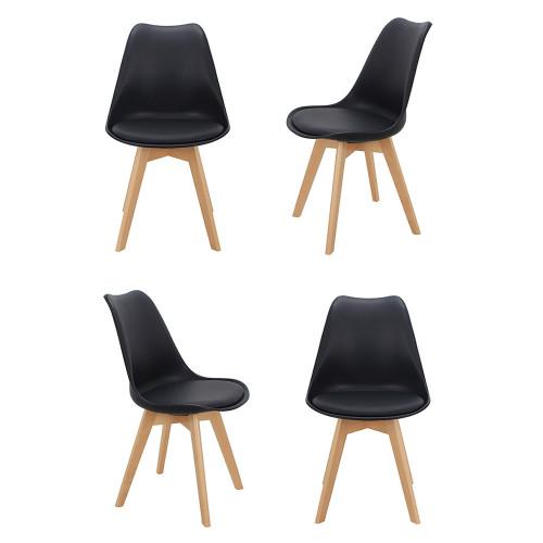 Комплект из 4-х стульев Eames Bon чёрный FR 0024K