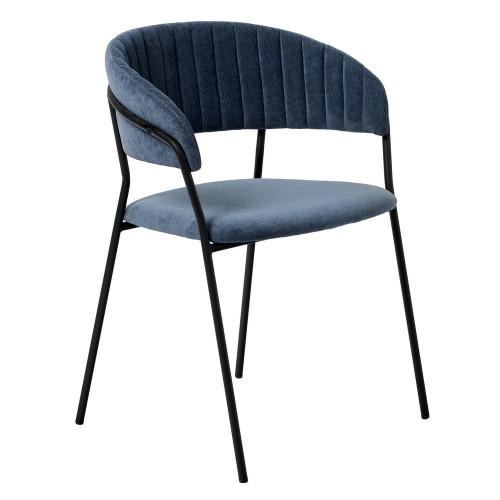 Стул Turin синий вельвет с чёрными ножками FR 0555