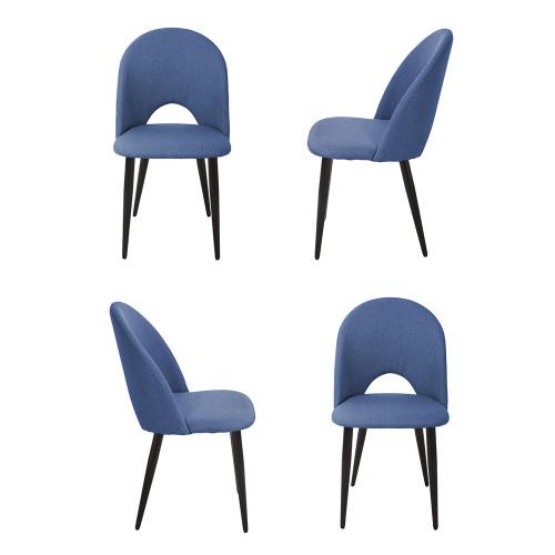 Комплект из 4-х стульев Cleo голубой с черными ножками FR 0532K