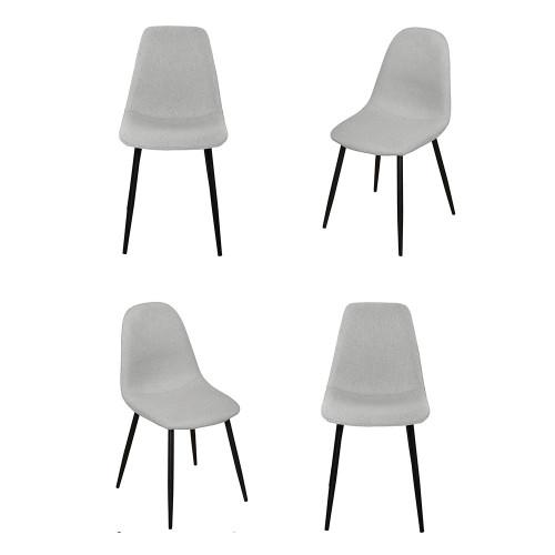 Комплект из 4-х стульев Comfort серый с чёрными ножками FR 0412K