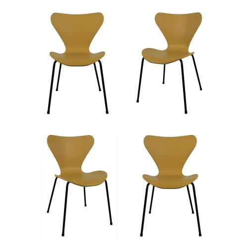 Комплект из 4-х стульев Seven горчичный с чёрными ножками FR 0423K
