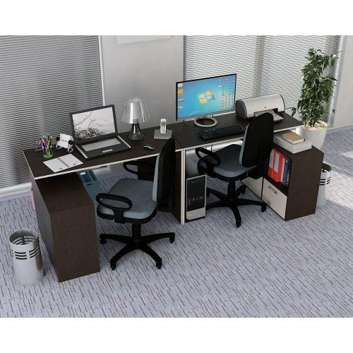 Стол письменный Слим-4, прямой/угловой венге / дуб молочный