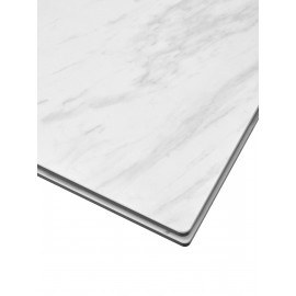 Стол BELLUNO 160 MARBLES KL-99 Белый мрамор матовый, итальянская керамика/ белый каркас М-City