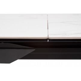 Стол CREMONA 160 HIGH GLOSS STATUARIO Белый мрамор глянцевый, керамика/ черный каркас М-City
