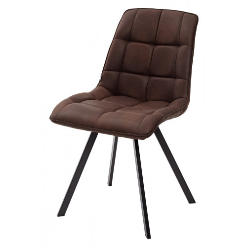 Стул MIMI коричневый с черными ножками, микрофибра PK-03 М-City