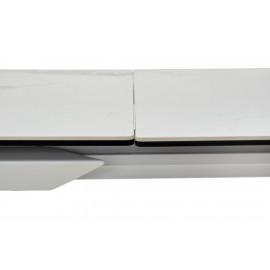 Стол CREMONA 140 HIGH GLOSS STATUARIO Белый мрамор глянцевый, керамика/ белый каркас М-City