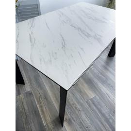 Стол CREMONA 140 KL-99 Белый мрамор матовый, итальянская керамика / черный каркас М-City
