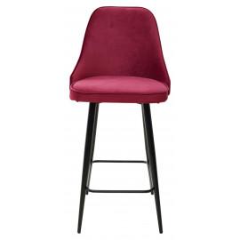Полубарный стул NEPAL-PB ВИННЫЙ #16, велюр/ черный каркас (H=68cm) М-City