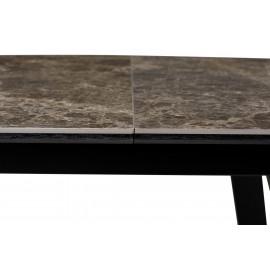 Стол Морис 140 Коричневый мрамор матовый, керамика / черный каркас М-City