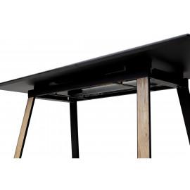 Стол Франк 160 Графит, стекло / Дуб Галифакс, черный М-City