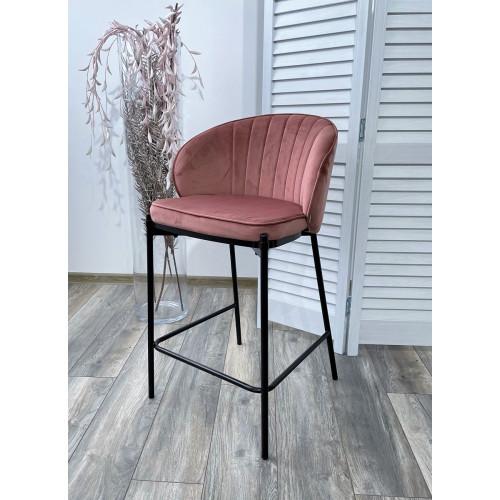 Полубарный стул WENDY BLUVEL-52 PINK (H=65cm), велюр М-City