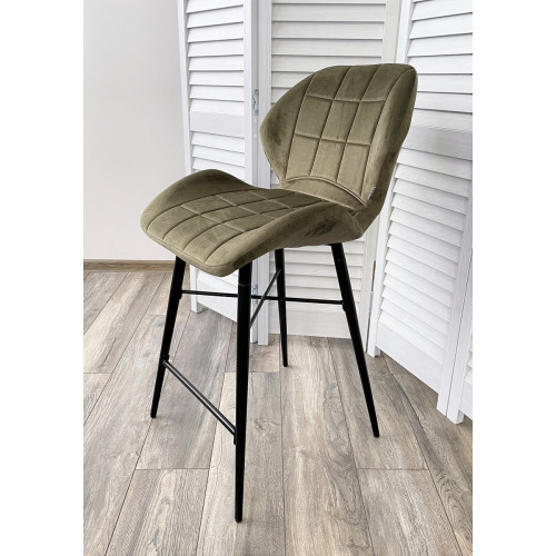 Полубарный стул MARCEL BLUVEL-77 ASH GREEN (H=65cm), велюр М-City