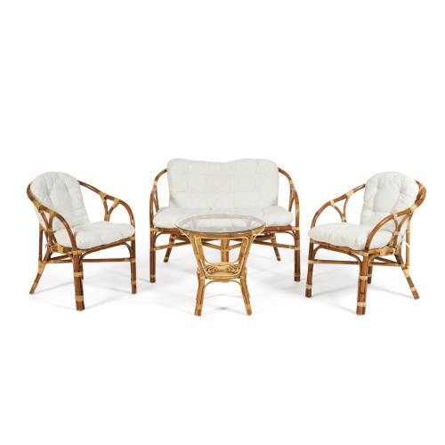 Комплект для отдыха RONDO ECO SKIN (стол круглый (со стеклом)+2 кресла + диван)) /с подушками/