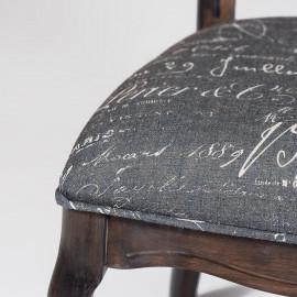 Cтул Secret De Maison Esmee ( mod.EE-SC ) дерево гевея, 96х55х46см, antique walnut (античный орех А010), ткань Французское письмо №F788-2