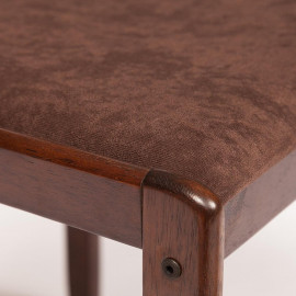 Обеденный комплект эконом Стетсон (стол + 4 стула)/ Statson Dining Set дерево гевея/мдф, стол: 110х70х73,5см  стул :84х42х45см, wenge (венге), ткань темно-коричневый флок