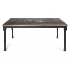 CT 3760P Стол с плиткой дерево гевея/плитка, 152х94х70см, Венге (Wenge) , рисунок-Дерево 6