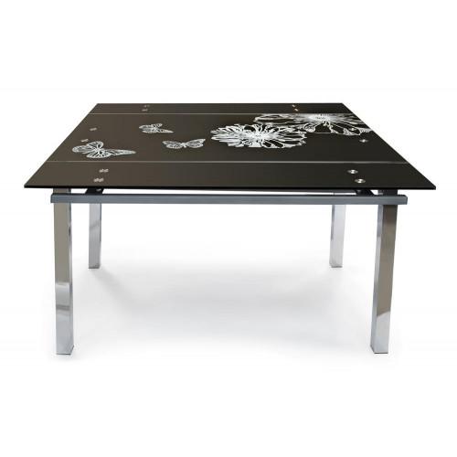 TB017-8 Стол обеденный 700(1180)х1180х12, черный, рисунок